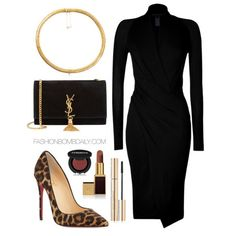 What to Wear to a Fall Wedding in NYC Donna Karan New York Jersey Long Sleeve Wrap Dress Christian Louboutin So Kate Calf Hair Pumps Saint L...