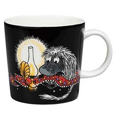 "Moomin Mugs from Arabia – A Complete Overview (2019) 78. Ancestor black / Esi-isä musta (2016–). The motif comes mainly from the story ""Moominland Midwinter""."