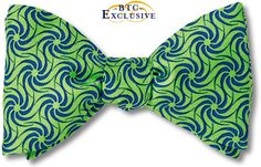 — BTC Exclusive Design — Tilting at navy blue windmills across fields of bright green bow tie. Premium Printed Silk Twill. American Made Bow Ties.