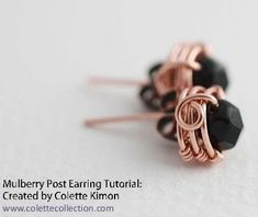 Wire Wrapped Copper Stud Earrings Tutorial - The Beading Gem's Journal.  #Wire #Jewelry #Tutorial