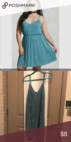 Forever 21 Never Worn Plus Size Pleated Cami Dress Beautiful seafoam-colored a-line dress. Slightly shimmery and can be dressed up or down. Never worn but no tags. Fits true to size for F21 (outside of F21 I am usually a 2X). Forever 21 Dresses