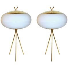 Italian, 1970s Pair of White Glass and Gold Brass Tripod Floor Table Lamps For Sale at 1stdibs