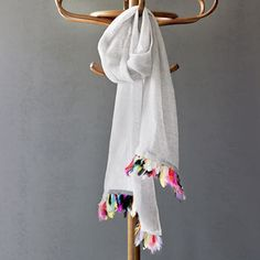 Hand Woven Linen And Feather Scarf