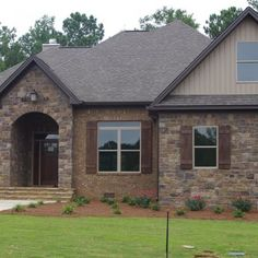 Stone and brick home exterior ideas pinterest for Brick stone combinations
