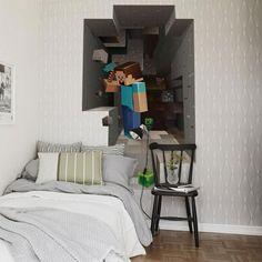 Cartoon 3D DIY Wallpaper For Kids Rooms/Bedroom/Living Room/Interior Design  Minecraft