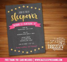 Printable Pink and Gold Sleepover Chalkboard Birthday Invitation | Slumber Party…