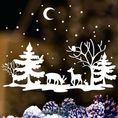 me ~ Window picture Christmas reindeer white sticker window sticker winter Christmas Stencils, Easy Christmas Crafts, Christmas Stickers, Christmas Paper, Simple Christmas, Winter Christmas, Christmas Ornaments, Christmas Colors, Christmas Christmas