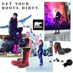 """""""Get Your Boots Dirty with SOREL"""" by sorelfootwear on Polyvore"""