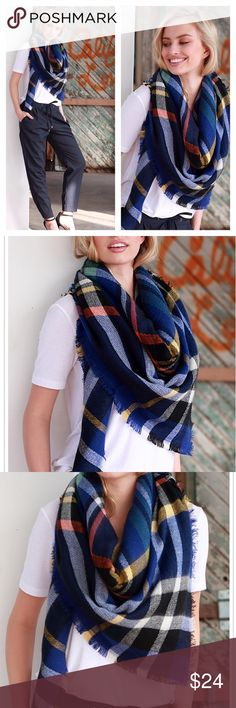 "Plaid Blanket Scarf Fabulous Blanket Scarf!  58"" x 58"" Boutique Accessories Scarves & Wraps"