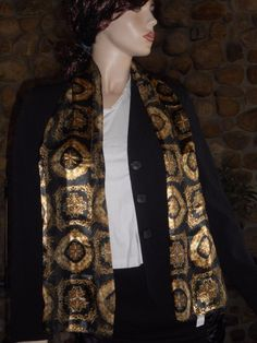 $7.99 & Free Shipping! Black and Gold Silky Scarf Unbranded #Unbranded #Scarf