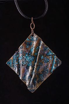 Rustic, fold formed copper pendant, with blue patina by Erika Jurney Copper Art, Copper Jewelry, Pendant Jewelry, Handmade Jewelry, Unique Jewelry, Jewelry Ideas, Soldering Jewelry, Silver Ear Cuff, Silver Work