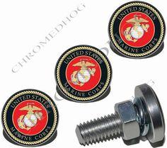 "2 Black Billet Aluminum Custom License Plate Frame Tag Bolts /""Marines USMC/"""