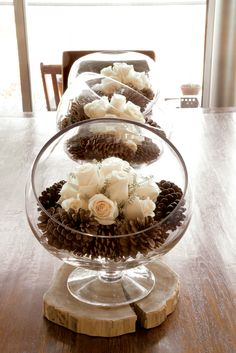 pinterest decorating with pine cones | Rose Pine Cone Centerpiece | Honeysuckle Life