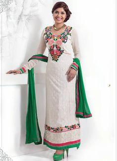 Dainty White Long Georgette Churidar Suit