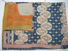 Aunthentic Vintage KANTHA QUILT Throw Handmade Ralli  Gudri  India Sarii Gudari 343