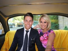 Towie stars Joey Essex and Sam Faiers in the New York Taxi Cab Photo Booth.