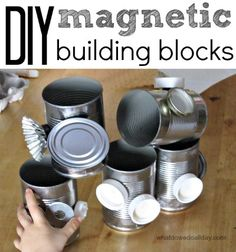 Fun idea for the classroom, too. DIY magnet building block set with cans and lids craft, activities for kids, diy magnet, magnets, building blocks, build block, buildings, magnet build, children play