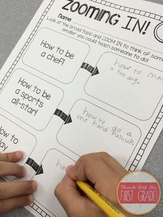 """How to writing for 1st grade! Have your students """"zoom in"""" to find smaller topics to teach."""