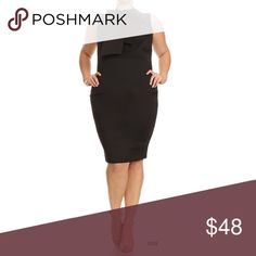 Black Plus Size Bodycon Neck Bow Midi Dress Gorgeous black neck bow dress with ruffle accents. Perfect little black dress. Made of stretchy polyester material. Dresses Midi