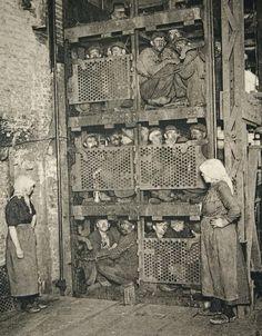 Coal mine elevator c. 1900.  Gent, Belgium.  Photographer Van Melle.