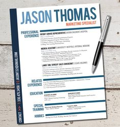The Jason Resume Design Template - Business - Sales - Marketing - Customer Serivce - Management