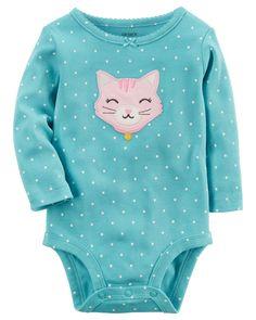 Baby Girl Long-Sleeve Cat Bodysuit | Carters.com