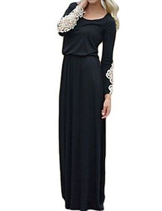 Women's Party/Cocktail Sexy Shift Dress,Patchwork Round Neck Maxi Long Sleeve Black Fall – USD $ 13.99