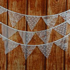 A string of white lace flags - the perfect, feminine touch for weddings, bridal parties, bachelorette weekends, engagement parties or photoshoots, birthdays and more! Details: - Total Length: 320 cm/1