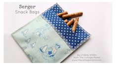 Favorite Free Sewing Patterns for Bags & Totes – Quick Serger Snack Bag from Babylock - This easy-to-sew project is a pretty replacement for single-use plastic bags. Serger Sewing Projects, Sewing Hacks, Sewing Crafts, Sewing Ideas, Sewing Tips, Serger Patterns, Sewing Patterns Free, Free Sewing, Fabric Snack Bags
