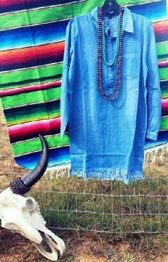 Amarillo Ripped Fringe Denim Tunic Dress