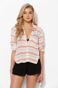 BDG Crinkle Roll-Sleeve Button-Down Shirt