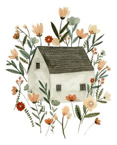 Floral Cottage art print sweet house and garden watercolour, house illustration Floral Cottage art print sweet house and garden watercolour, Illustration Blume, Garden Illustration, Watercolor Illustration, Watercolor Art, Friends Illustration, Food Illustrations, Illustration Inspiration, Garden Drawing, Garden Art