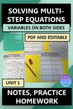 """*This resource is 100% editable* Teach your middle or Algebra students Solving Equations with the Variables on Both Sides. This resource includes fill-in-the-blank notes, """"I Try, You Try"""" practice, and homework. Just print & go by using the pdf or edit it in Powerpoint. If you don't like fill-in the blank notes, use the answer key and the blanks are filled in for you! The homework aligns with the practice problems. Answer key is included. #Solving Equations #Algebra #Notes #Homework #Editable Fun Math, Math Activities, Math Resources, Solving Equations, Secondary Math, Math Lessons, Homework, Algebra 1, Math Stations"""