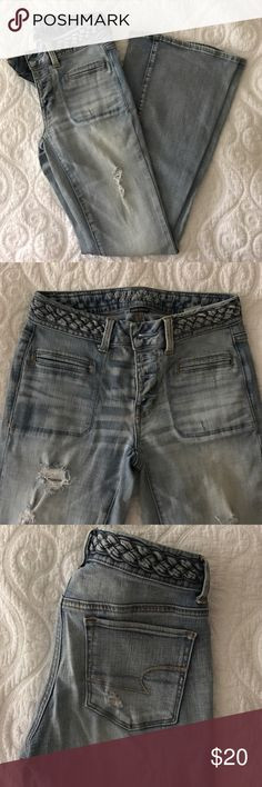 American Eagle 🦅Boho Artist flare jeans. AE Boho Artist jeans with button fly and braided waist detail. Mid-rise, light wash, minimal distress. Super stretch. Gently worn, excellent condition. Price firm! Bundle with other denim pieces and save 👖 American Eagle Outfitters Jeans Flare & Wide Leg