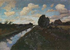 Otto Modersohn, Moorkanal mit hohem Himmel