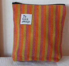 Zipper pouch/toiletry bag made of striped by ReDesignandReCycled, kr80.00