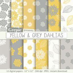 Yellow grey floral: digital paper YELLOW & GREY DAHLIAS by Grepic