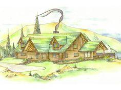 Elk Ridge Rustic Log Home Front of Home from houseplansandmore.com