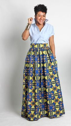 What says summer better than an African print maxi skirt? A truly timeless piece, this skirt will have you feeling like the belle of the ball no matter where you wear it. The maxi features a structured waistband and full ankara skirt for a classic fit that pairs well with all of your favorite tops. The Zuwa Maxi Skirt also has side pockets. How do I wear my Zuwa Maxi in Cobalt Maze? Don't worry about getting lost in this maze, you will come out a winner! Bring bold beautiful color to the…