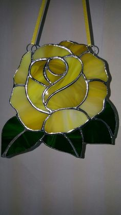 Stunning Yellow Rose Suncatcher Full Bloom Rose Shaped
