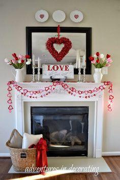 Beautiful Valentineu0027s Day Mantel Decorations