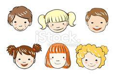 Enfant, Visage, Bébés filles, Dessin animé, Petites filles Illustration vectorielle libre de droits