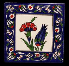 Çini karo Turkish Design, Turkish Art, Turkish Tiles, Islamic Tiles, Islamic Art, Tile Art, Ceramic Painting, Tile Patterns, Art And Architecture