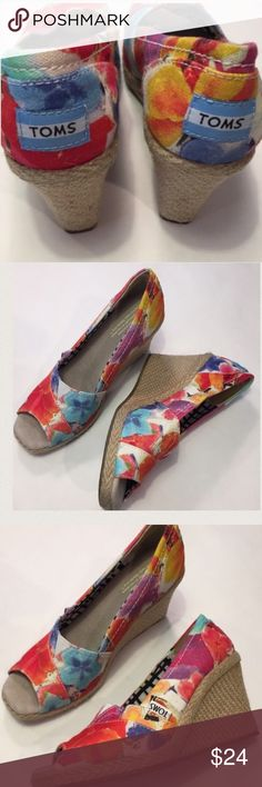 TOMS floral peep toe wedges EUC Canvas ratting wedges great condition! No box TOMS Shoes Wedges