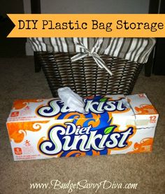 DIY Plastic Bag Storage-will cover with contact paper!  It will fit great in a pantry or under a sink.