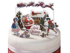 TT ケーキトップ/レトロクリスマス (10種ピック入)