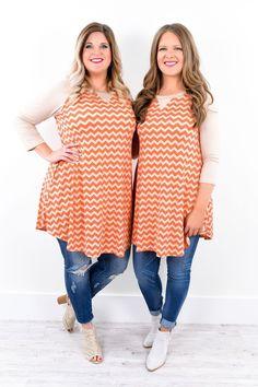 Helplessly In Love Taupe/Orange Chevron Dress - D1705TA