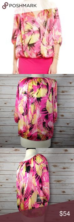 (Vince Camuto) Tropical Movements Peasant Blouse Tropical Movements Peasant, tie-neck, elastic sleeves and hem, 100%polyester blouse Vince Camuto Tops Blouses