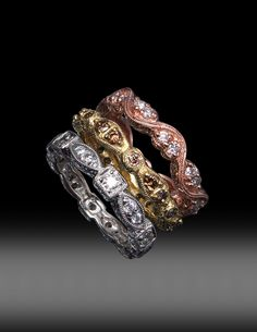 JPratt Designs: Custom created stackable band set -- Platinum with white diamonds, Yellow Gold with brown diamonds and Pink Gold with white diamonds