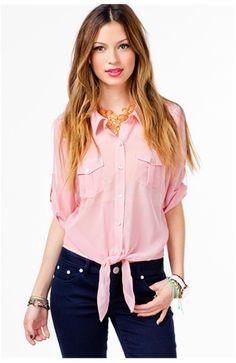 Lace Shoulder Tie Front 3/4 Slv Blouse